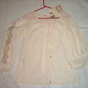 Chelsea & Violet Ivory Cotton Peasant Blouse XS